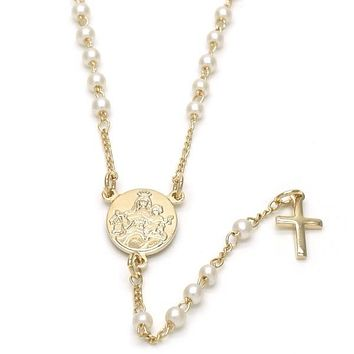 Gold Layered 09.02.0036.18 Thin Rosary, Caridad del Cobre and Cross Design, with Ivory Mother of Pearl, Polished Finish, Golden Tone