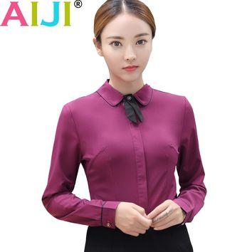AIJI long sleeve blouse women turn-down collar work shirts OL elegant solid formal chiffon shirts ladies office wear tops