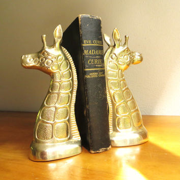 Vintage Brass Giraffe Bookends, Gold Giraffe Book Ends, African Animal, Pair of Giraffes