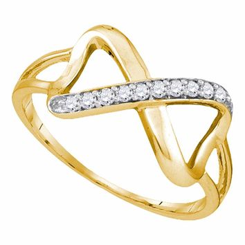 10kt Yellow Gold Womens Round Diamond Infinity Ring 1/10 Cttw