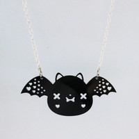 Bat Necklace - Cute Kawaii Bat Acrylic Charm with Chain