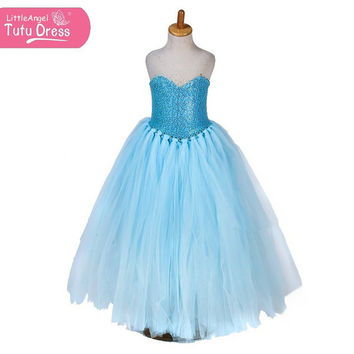 Handmade Frozen Princess Queen Elsa Sequinned Tutu Dress – Floor Length Fancy Dress – Age 3 4 5 6 7 8 9 10 11