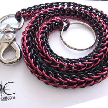 Black and Red Wallet Chain - Chainmaille Wallet Chain - Biker Wallet Chain - Aluminum Wallet Chain - Gifts for Bikers - Mens Gifts