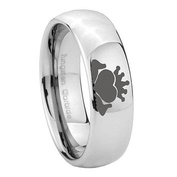 8mm Claddagh Design Mirror Dome Tungsten Carbide Mens Engagement Ring