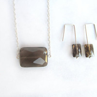 Smoky quartz necklace and earrings set, faceted quartz necklace, faceted smoky quartz earrings, sterling silver genuine smoky quartz set