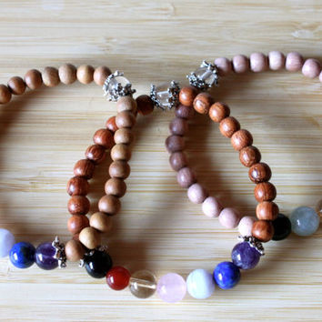 Chakra Bracelet Made with Rosewood Beads and Gemstones