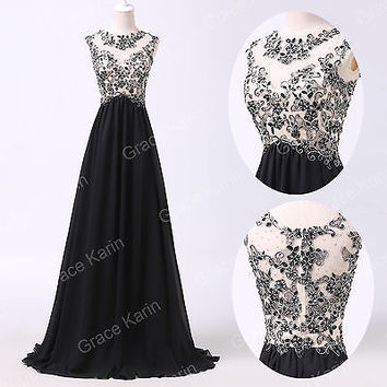 Applique Long Evening Dress Party Formal Gown Bridesmaid COCKTAIL Prom Dresses