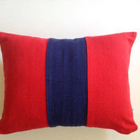 "Navy red pillows, Color Block navy Navy Blue 12"" x16"" Modern Home Decor Lumbar Pillow Cover IN Stock"