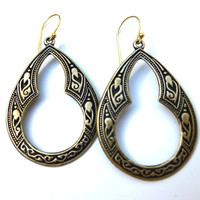Gold Celtic boho hoop earrings, Bohemian earrings, jewelry, jewellery.