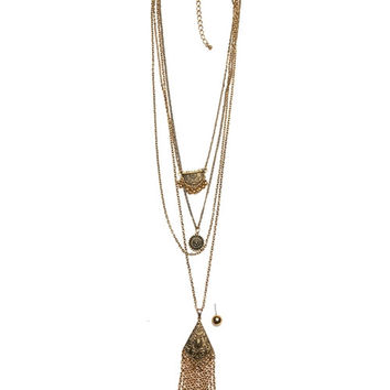 Long Chain Tassel Necklace and Earrings