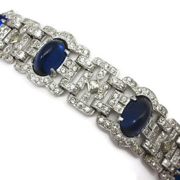 Art Deco Bracelet - 1930s Sapphire Blue Glass, Pave Rhinestones, Costume Jewelry, Silver & Blue