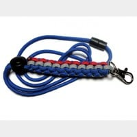 Paracord Lanyard Blue Red Gray Men Unisex Breakaway with Cord Adjuster Handmade USA 550 Cord