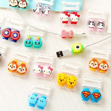 1pcs USB cable Earphones Protector colorful hello kitty Cover For iphone android Universal  cable Data Line Protection sleeve