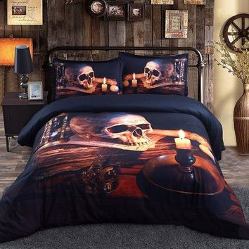 3D Skull and Candle Printed Luxury 4-Piece Halloween Bedding Sets/Duvet Covers