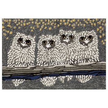 Trans Ocean Imports Liora Manne Frontporch Owls Indoor Outdoor Rug (Grey)