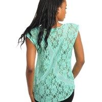 Teal Womens Cap Sleeve Knit Top Shirt Blouse, Sheer Front Lace Back