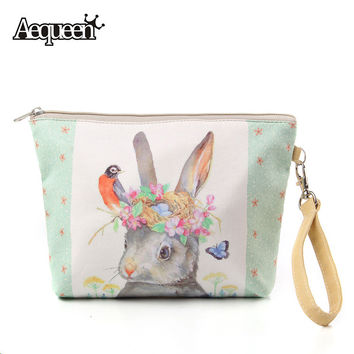 2017 Women Make Up Bags Flower Floral Canvas Zipper Cosmetic Case Simple Casual Girls Big Lady Pouch Storage Travel Organizer