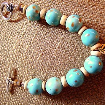 Wood You Leaf Me Bracelet for Women, Turquoise Porcelain Beads, Coconut, Pewter, Heishi, OOAK, Gift for Her, Jewelry on Etsy, Handmade