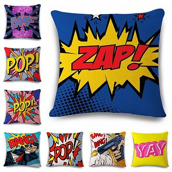 18'' Square Color Graffiti Rock And Roll Style Cushion Covers Letters POP WOW POW BANG Superman Print Pillow Cover Pillowcase
