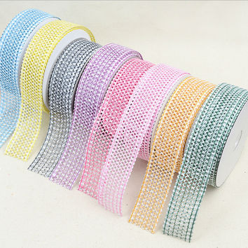 20 Yards/lot  8 colors Embossing Flower Vine Organza Ribbon DIY Headware Christmas Packing Clothes Home Decorative Accessories