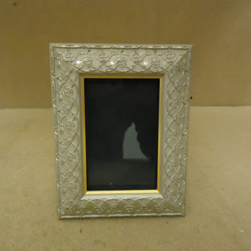 Designer Picture Frame Silver/Gold Fits 4in x 6in Plastic Glass -- Used