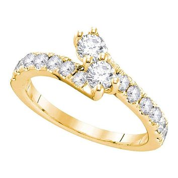 14kt Yellow Gold Women's Round Diamond 2-stone Hearts Together Bridal Wedding Engagement Ring 3/4 Cttw - FREE Shipping (US/CAN) (Certified)
