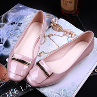 Flat Strong Character Leather Metal Square Toe Stylish Shoes [4920469124]