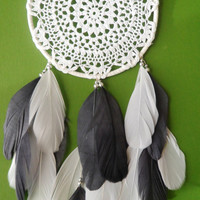 Dream Catcher - Doily - Modern - Gray and White