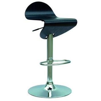 Chintaly 0350 Bent Wood Pneumatic Gas Lift Adjustable Height Swivel Stool In Ash And Chrome
