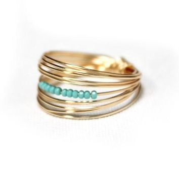 Go Ring - Gold w/ Turquoise