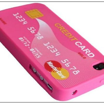 Leegoal Peach Credit Card Soft Silicone Rubber Skin Case cover for Apple iPhone 4s 4 4G