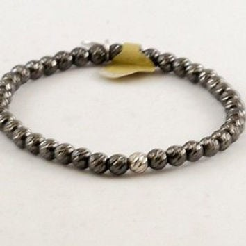 Beaded Stretch Bracelet, 925 Sterling Silver Made in Italy -Black