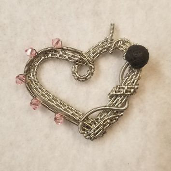 Wire Wrapped Lava Stone Aromatherapy Necklace | Heart Diffuser Necklace