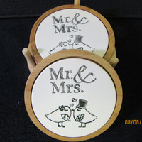 Coaster Set Bride and Groom Porcelain Ceramic, Mr. and Mrs. Birds, Handmade by B. Marsh