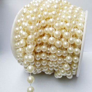 20m 10mm roll pearl Beads chain Garland strands Wedding Party pearl decoration string Crafting DIY accessory