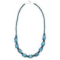 Recycled Glass Marble Necklace in Teal