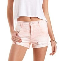 Colored & Destroyed Denim Shorts by Charlotte Russe