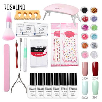 ROSALIND Gel Nail Polish Set 4 Color UV 6W Lamp For Nails Art Gel Lacquer acrylic nail kit Free Shipping Set For Manicure
