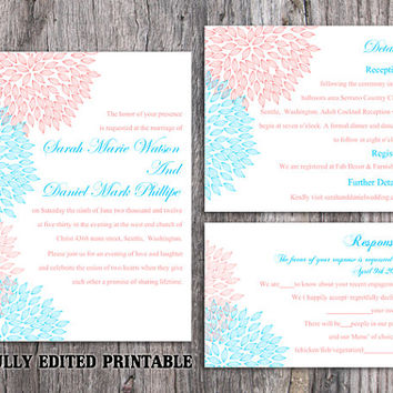 Printable Wedding Invitation Suite Printable Invitation Pink Wedding Invitation Floral Blue Invitation Download Invitation Edited PDF file