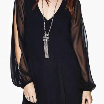 Black Sheer Mesh Cut-Out Sleeve Chiffon Shift Dress