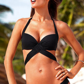 Black Halter Cross Pleated Bikini