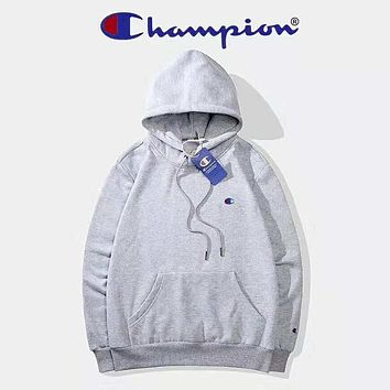 Champion Autumn And Winter High Quality New Fashion Bust Embroidery Logo Women Men Hooded Long Sleeve Sweater Top Gray