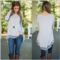 Grey Lace Trim Long Sleeve Shirt - Grey