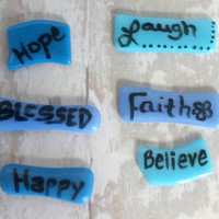 Mosaic tile words - handpainted - fused glass -  Faith - Hope - Love - blessed - word tiles - blue - green
