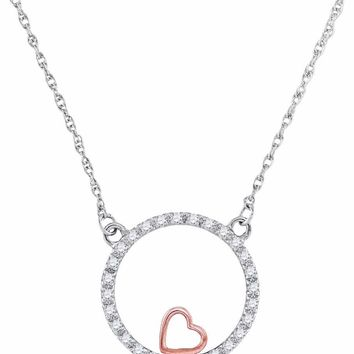10kt Two-tone Gold Womens Round Diamond Heart Circle Pendant Necklace 1/6 Cttw