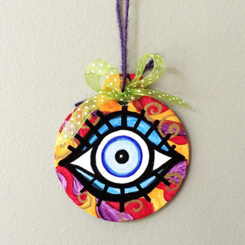 Evil Eye Ornament, Handpainted Christmas Decoration, Lucky Eye, Nazar, Mystic Symbol, Blue Eye, Good Luck Symbol, Personalized, Whimsical