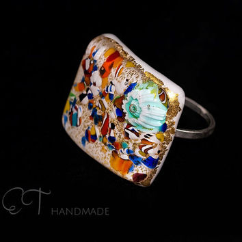 Murano glass multicolor ring-statement white glass, Pure gold & Sterling Silver precious ring-italian artisan designer jewelry-gift for her