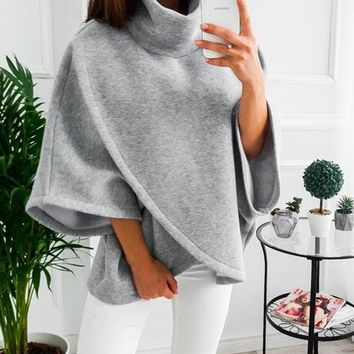 New Grey Cut Out High Neck Long Sleeve Fashion Pullover Sweatshirt