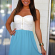 Speak Kind Words Dress: Ivory/Teal | Hope's