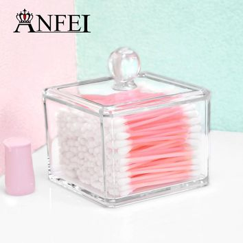 Clear Acrylic Q-tip Holder Box With Cover Cotton Swabs Stick Storage Cosmetic Makeup Organizer Women's Powder Jewelry Cases New